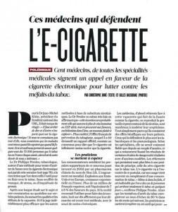 """Frans krantenartikel : """"Medici verdedigen e-sigaret"""""""